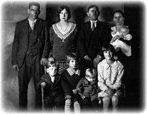 Lawson Family photo taken just hours before the murders.Top Row: Arthur, Marie, Charles, Fannie, Mary Lou.Bottom Row: James, Maybell, Raymond, Carrie.